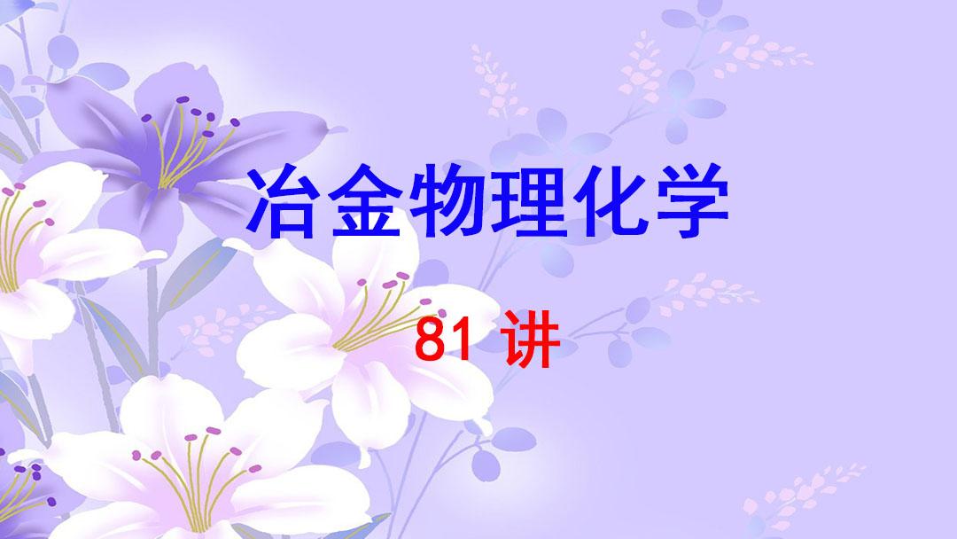 北京科技大学 冶金物理化学 郭汉杰 81讲