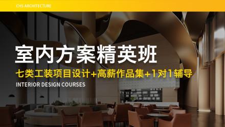 七类室内工装方案设计+平面布局+设计工艺+高薪作品集+就业推荐