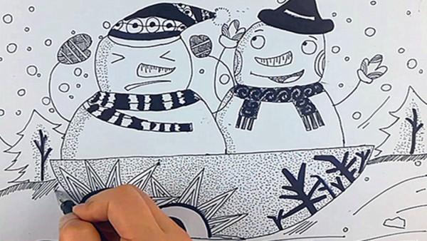【雅盛美术】教你画线描《雪人》适合6岁以上美术爱好者
