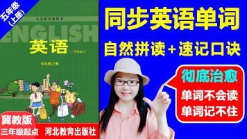 冀教版五年级上册同步英语单词自然拼读高效速记