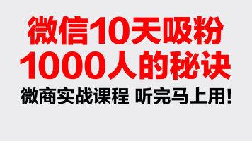 微信10天精准吸粉1000人秘诀 微商引流营销实战