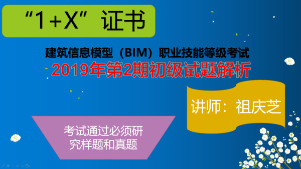 """1+X""建筑信息模型(BIM)(初级)第2期真题解析"