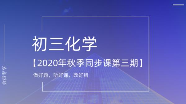 【初三化学】2020年秋季同步课(第三期卢雪老师)