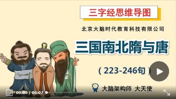 三字经思维导图系列课程11-历史之三国南北隋与唐(223-246句)