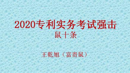 2020年专利代理师实务考试强击讲座(富贵鼠讲鼠十条)