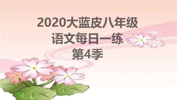 2020大蓝皮语文八年级每日一练第4季