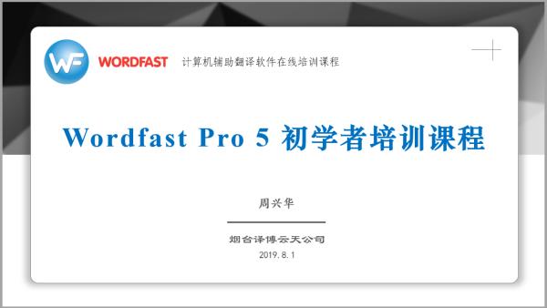 Wordfast Pro 5 初学者培训课程