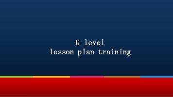 G level lesson plan training