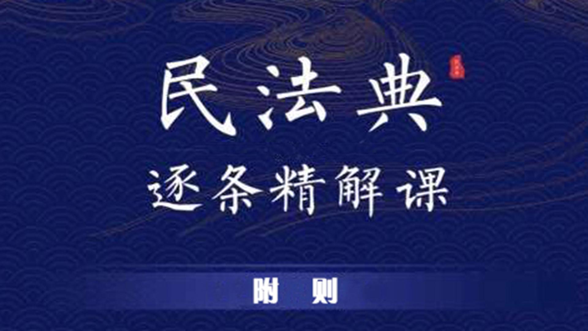民法典逐条精讲课【附则编】