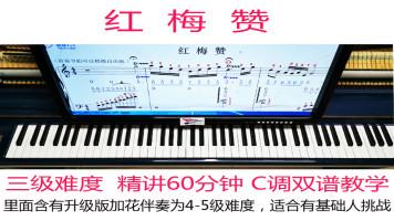 红梅赞钢琴教学视频教程自学简谱五线谱双谱详细讲解示范