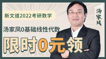 湖北新文道2022考研数学汤家凤线性代数基础课程精讲