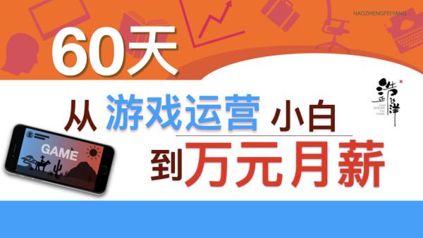 【浩正飞洋】60天游戏运营训练营|大厂实战秘籍|从小白到万元月薪