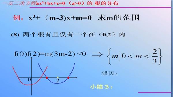 3.1.0一元二次方程根的分布--高中数学必修1(单三步)