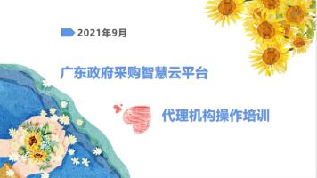 广东政府采购智慧云平台代理机构业务及操作培训-九月份