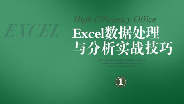 Excel数据处理与分析实战技巧第1季