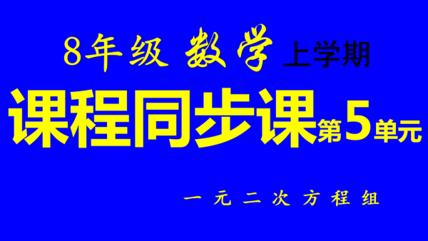 8年级/初二上册同步数学第5单元:二元一次方程组-张奎敬讲数学