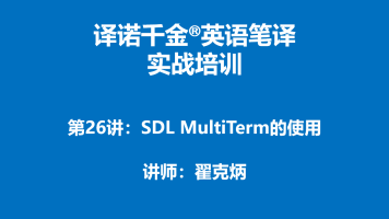 译诺千金英语笔译实战培训第26讲-SDL MultiTerm的使用