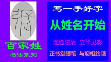 张-百家姓书法系列之正书堂书法之硬笔书法、写字视频教程