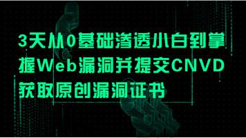 3天从0基础渗透小白到掌握Web漏洞并提交CNVD获取原创漏洞证书