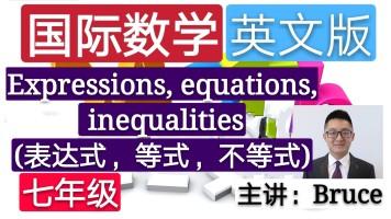 【精品课】七年级小学国际英文数学 (表达式,等式,不等式)