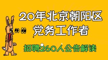 20年北京朝阳区招聘基层党务工作者260人公告解读