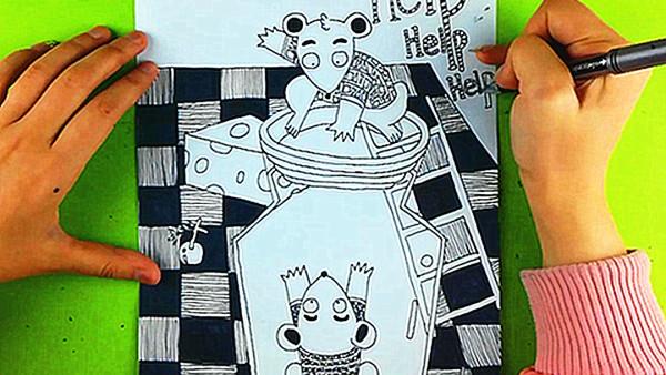 【雅盛美术】教你画线描《营救小老鼠》适合7岁以上美术爱好者