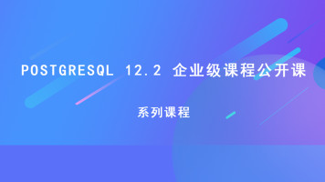 PostgresSQL 12.2 企业级课程系列公开课
