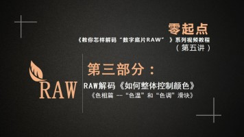 RAW解码:《如何整体控制图片颜色》(一)