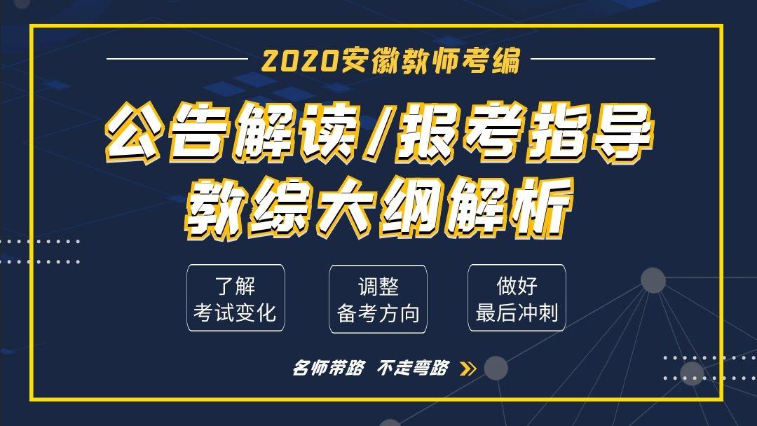 2020安徽教师统考-公告解读 报考指导 教综大纲解析【师出教育】