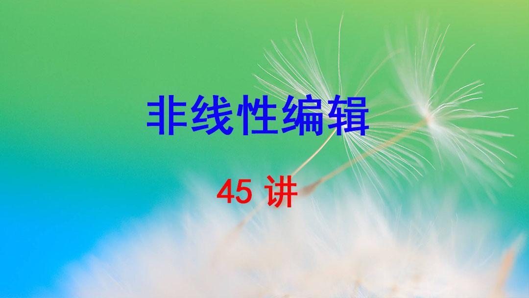 浙江传媒学院 非线性编辑 任月琳 45讲