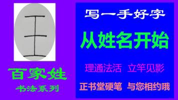 王-百家姓书法系列之正书堂书法之硬笔书法、写字视频教程