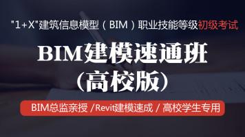 """1+X""BIM初级考试:BIM建模速通班(高校版)"