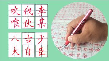 硬笔书法视频教程  独体字精讲 成人中小学生练字视频课程