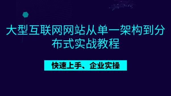大型互联网网站从单一架构到微服务分布式架构实战教程
