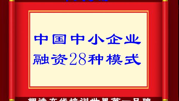 (优质)HZ0252+中国中小企业融资28种模式(金融班)