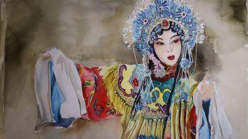 红砖墙-蕊哥美术绘画教学儿童画画油画棒水彩画幼儿启蒙色彩