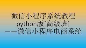 微信小程序系统教程python版[高级阶段]_微信小程序电商系统