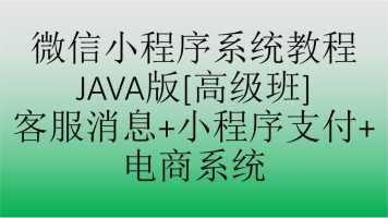 微信小程序系统教程JAVA版[高级班]客服消息+小程序支付+电商系统