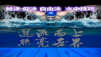 零基础学游泳教学视频教程蛙泳仰泳自由泳学游泳水中技巧