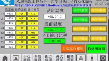 西门子1200 PLC控制8个Modbus站点做恒温控制系统项目