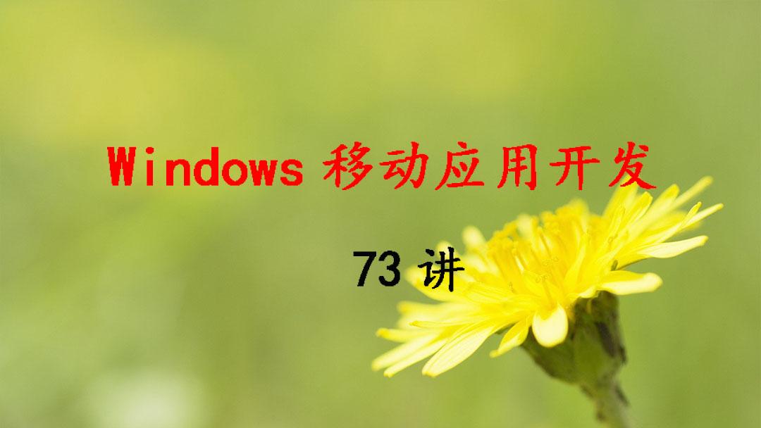 北京电子科技职业学院 Windows移动应用开发 王萍 73讲