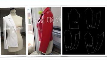 服装设计服装打版服装纸样制版服装裁剪之两片袖西服袖的配袖原理