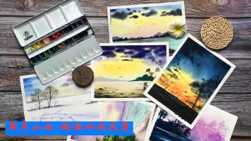 适合新手小白-绚丽水彩风景/彩铅/手绘/美术/素描/风景/绘画