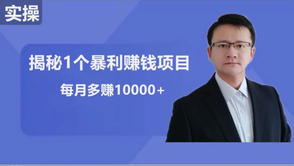 揭秘1个赚钱项目:小白每月10000+