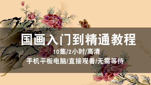 国画视频教程 自学/写意/零基础 竹子/花鸟/山水画/水墨在线课程