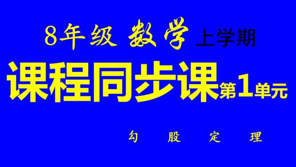 8年级/初二上册同步数学第1单元:勾股定理-张奎敬讲数学