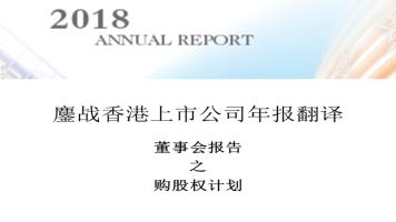 香港上市公司年报翻译之购股权计划
