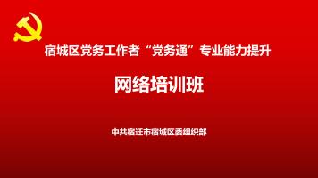 """宿城区党务工作者""""党务通""""专业能力提升网络培训班"""