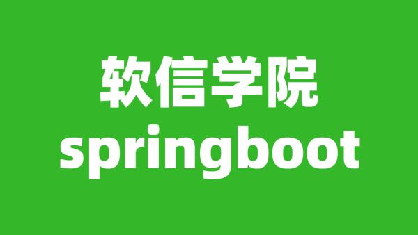软信学院springboot springboot2.x从入门到实战