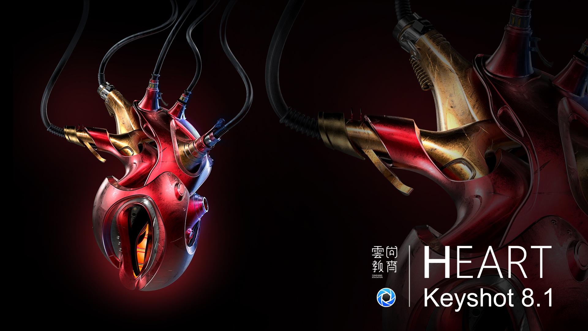 云尚教育 Keyshot 8.1机械心脏渲染教程